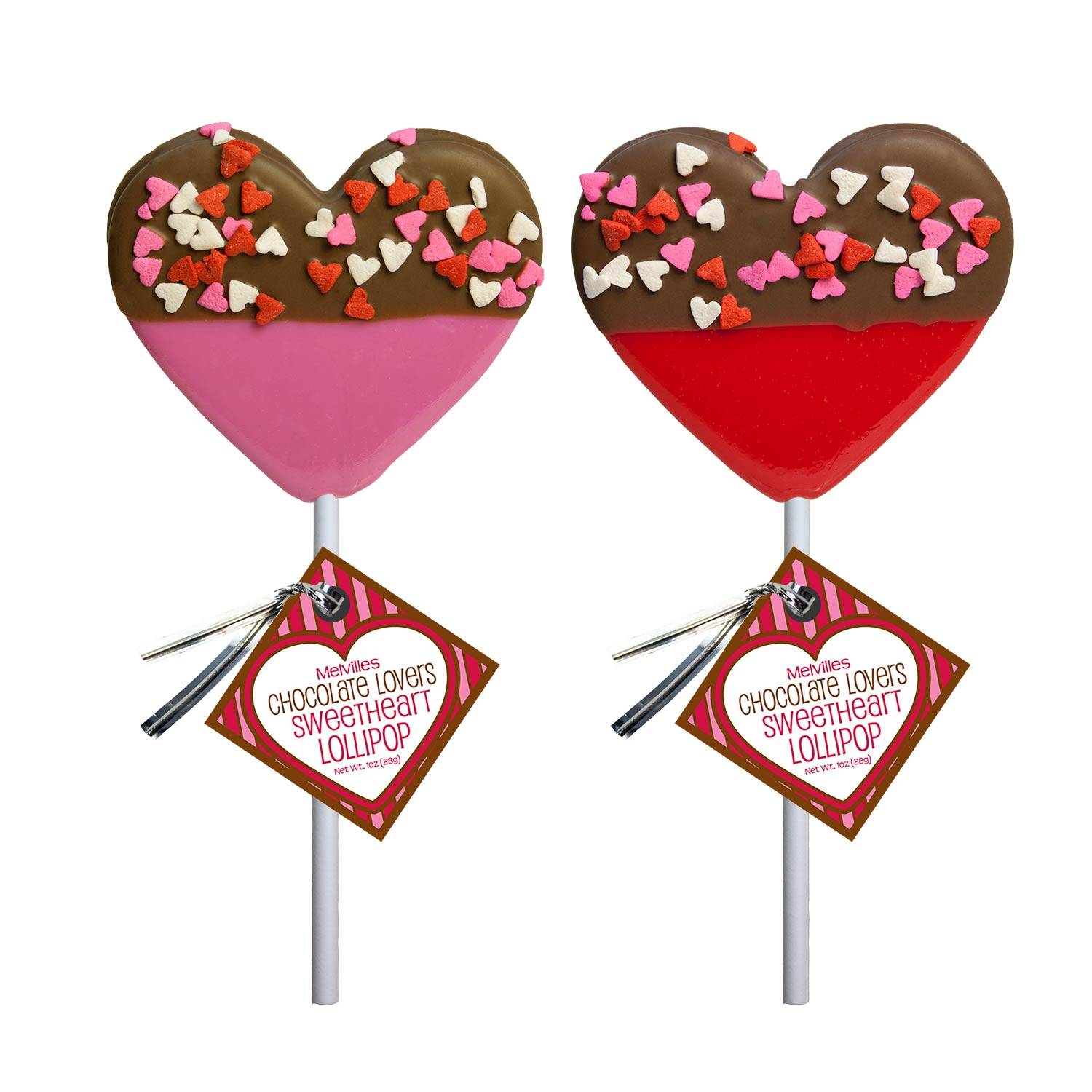 Chocolate Dipped Confetti Heart Lollipops by Melville Candy