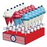 Patriotic Ice Cream with Cherry Lollipops: 24 Pack Display
