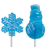 Kosher Frosted Blue Winter Lollipop Duo: 24 Pack