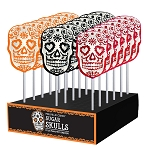 Halloween Frosted Sugar Skull Lollipops: 24 Pack Display
