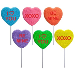 2oz Sanded Conversation Heart Lollipops: 24 Pack Display