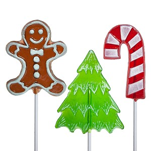 Frosted Holiday Lollipop 3 Shape Assortment: 24 Pack