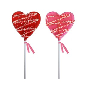 Chocolate Drizzled Heart Lollipops: 24 Pack