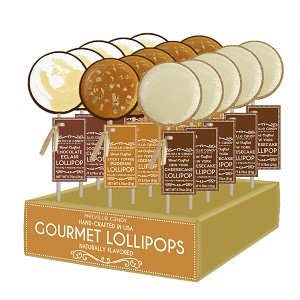 Dessert Chocolate Eclair, NY Cheesecake, and Sticky Toffee Pudding Lollipops: 24 Pack Display