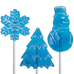 Kosher Frosted Blue Winter Lollipop Assortment: 24 Pack