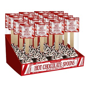 Peppermint Hot Chocolate Spoons: 16 Pack Caddy