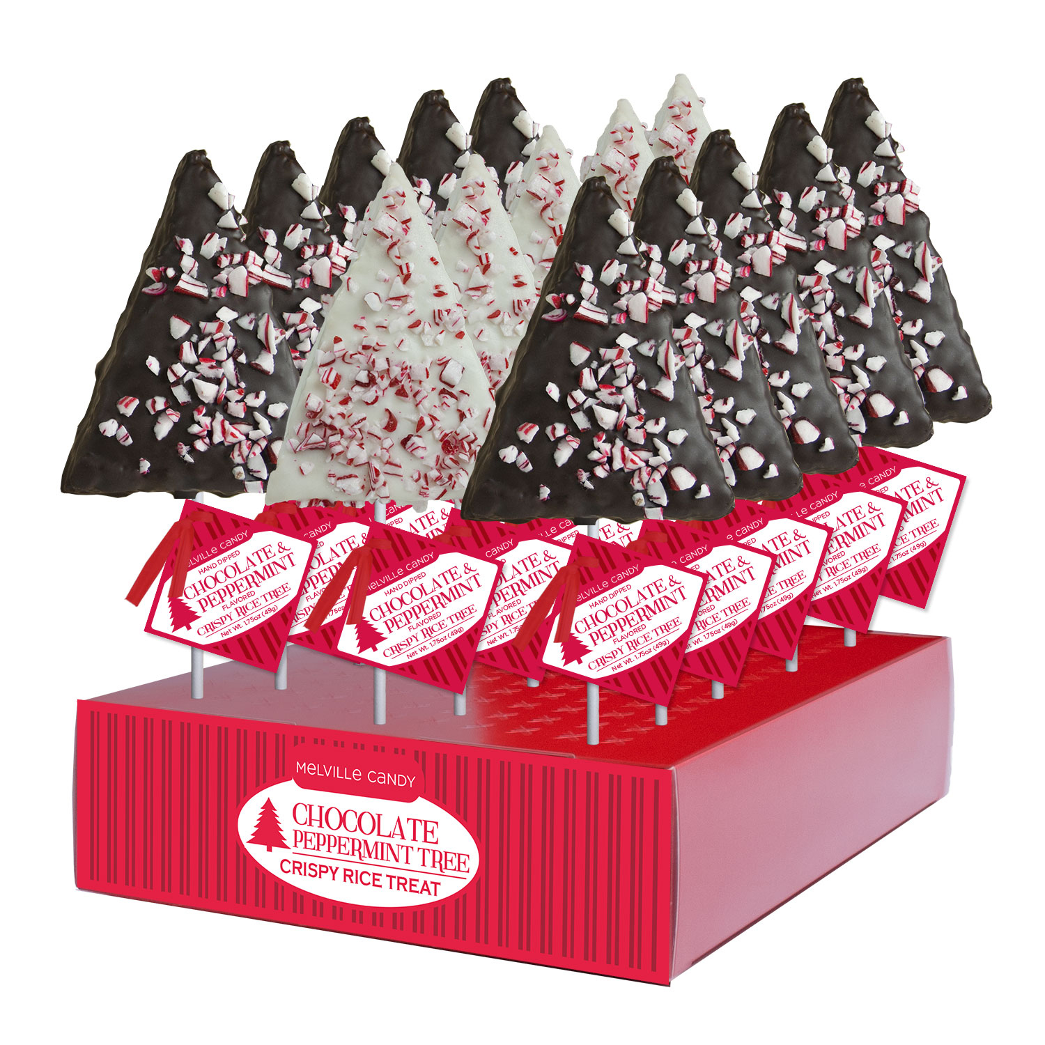 Peppermint Crispy Rice Trees: 12 Pack display