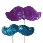Glitter Mustache Lollipop Masks: 12 Pack