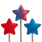 Patriotic Glitter Mini Star Lollipops</br>Pack 24
