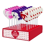 Valentine Cream Swirl Heart Lollipops: 24 Pack Display