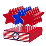 Patriotic Large Star Lollipops: 24 Pack Display