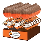 Chocolate Dipped Pumpkin Lollipops: 24 Pack Display