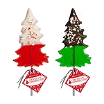 Chocolate Dipped Peppermint Tree Lollipops: 24 Pack
