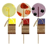 Blueberry Acai, Strawberry Champagne, & Lemon Ginger Gourmet Lollipops: 12 Pack