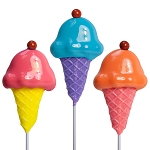 Ice Cream with Cherry Lollipops: 24 Pack