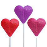 Mini Glitter Heart Lollipops: 24 Pack