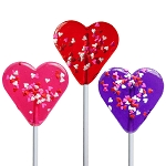 Mini Confetti Heart Lollipops: 24 Pack
