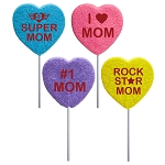 2oz Celebrate Mom Heart Lollipops: 12 Pack