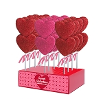 Double Sanded Marshmallow Heart Lollipops: 12 Pack Display