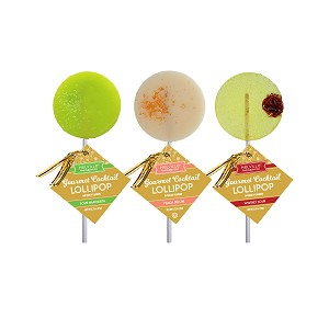 Sour Margarita, Peach Bellini, & Whiskey Sour Cocktail Lollipops: 12 Pack