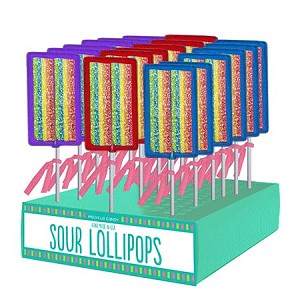Sour Rainbow Lollipops: 24 Pack Display