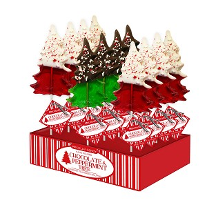 Chocolate Dipped Peppermint Tree Lollipops: 12 Pack Small Display