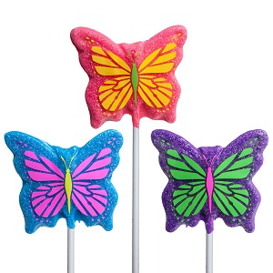 Sanded Butterfly Lollipops: 12 Pack