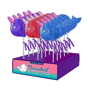 Sugar Horn Narwhal Lollipops: 24 Pack Display