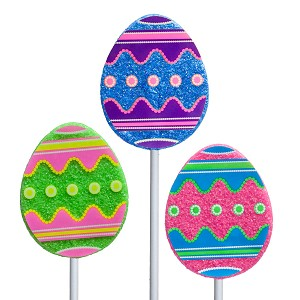 Sanded Decal Egg Lollipops: 24 Pack