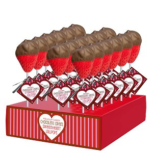 Chocolate Dipped Strawberry Lollipops: 24 Pack Display