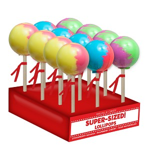 Super-Size Ball Lollipop: 12 Pack Display