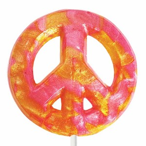 Giant Glitter Peace Sign Lollipops: 6 Pack