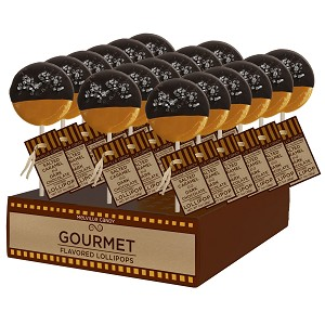 Chocolate Dipped Salted Caramel Gourmet Lollipops: 24 Pack Display