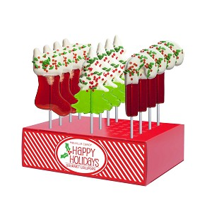 Chocolate Dipped Holiday Confetti Lollipop Assortment: 12 Pack Small Display