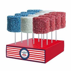 Giant Red, White & Blue Crystalz Marshmallows: 12 Pack Display