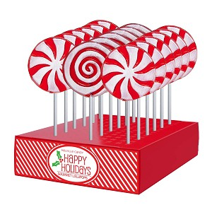 Frosted Peppermint Swirl & Pinwheel Lollipop Assortment: 24 Pack Display