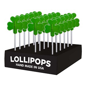 Small Shamrock Lollipops: 24 Pack Display