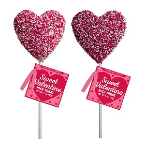 Valentine Full Nonpareil Crispy Rice Hearts: 12 Pack