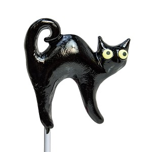 Spooky Black Cat Lollipops: 24 Pack