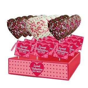 Chocolate Confetti Crispy Rice Hearts: 12 Pack Display